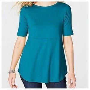 J Jill XL Pima Shirttail Tee Teal Tunic Top